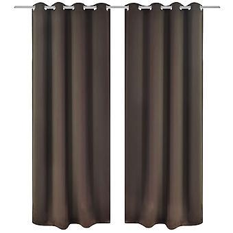Darkening curtains with metal rings 135 x 245 cm Brown blackout