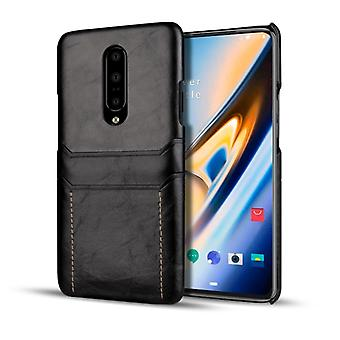 For OnePlus 7 Pro Calf Texture PU + PC Protective Case with Card Slots(Black)