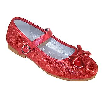 Girls sparkly red ballerina party and occasion shoes