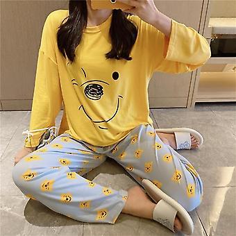 Daisy tlačené taška pyžamo ženy, roztomilý kreslený dlhý rukáv nohavice domáce oblečenie set