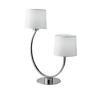 Dubbele tafellamp met schaduw, chroom, wit, E27