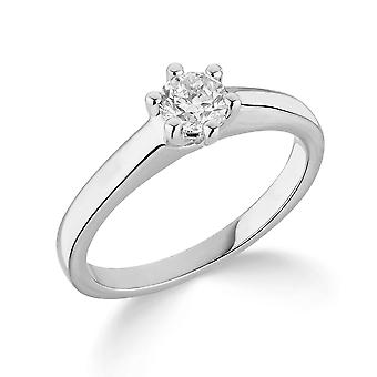 9K White Gold Traditional 6 Claw Setting 0.35Ct Certified Solitaire Diamond Engagement Ring