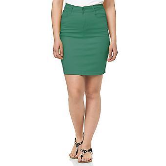 Womens Jeans Skirt Midi Knee Long elegant Stretch with Slit Denim Chino Optic