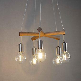 Garden Trading Rathborne Oak Pendant Light With Nickel Detail