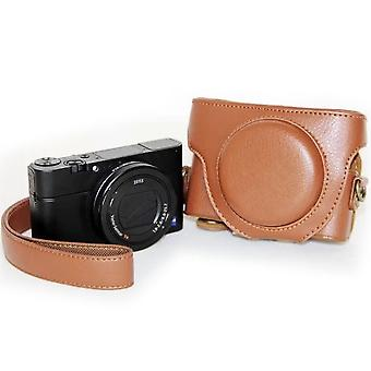 Retro Style PU Leather Camera Case Bag with Strap for Sony RX100 M3 / M4 / M5(Brown)