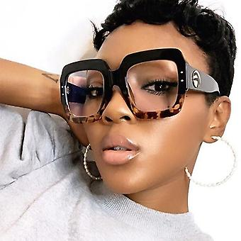 Anti Blue Light Glasses Frame Women Fashion Luxury Brand Square Big Clear Lens