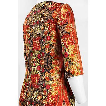 Sleeve Mixed Abstract Floral Print Scuba Dress
