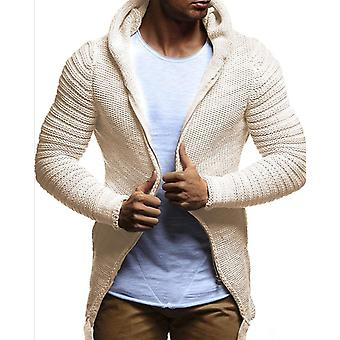 Knitted Cardigan Solid Color Men's Hooded Plus Size
