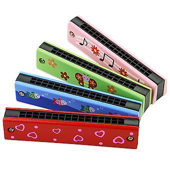 Armónica de madera para niños juguetes instrumentos musicales 16 agujeros de doble fila golpe dibujos animados color woodwind boca armónica Melodica