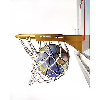 3D rendering of basketball with Earth globe texture falling into a basketball hoop Poster Print