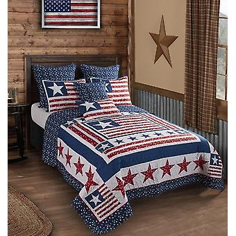 3Pcs Bedspread US America Polyester Patriotism King/Queen/Twin Quilt