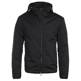 Emporio Armani All Over Logo Jacquard Black Hooded Jacket