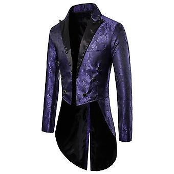 Men's Tailcoat Long Jacket Goth Fit Suit Cardigan Coat