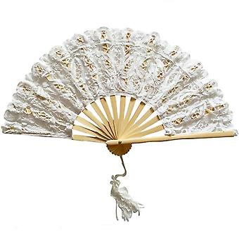 Classic Handmade Bamboo Ribs Embriodery Hand Lace Fan