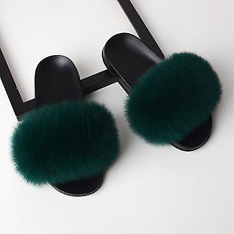 Women Real Fox Fur Slides - Home Furry Flat Cute Fluffy House Shoes (set-2)