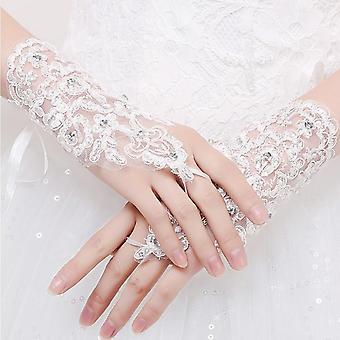 Lyhyet naiset sormettomat morsiushanskat tyylikäs lyhyet häätarvikkeet