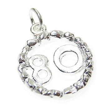 80e anniversaire Sterling Silver Charm .925 X 1 Charmes de quatre-vingts ans - 4911