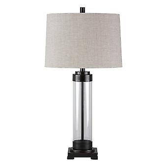 Glass And Metal Frame Table Lamp With Fabric Shade, Gray And Black