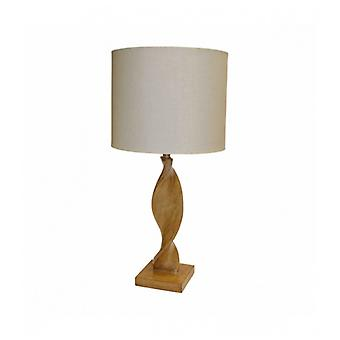 Abia Table Lamp In Poly Resin, Oak Effect Resin And Natural Linen