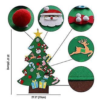 Diy Filz Weihnachtsbaum Set 26pcs abnehmbare Ornamente, Kinder Wandhängen Xmas Geschenke für Weihnachtsdekorationen
