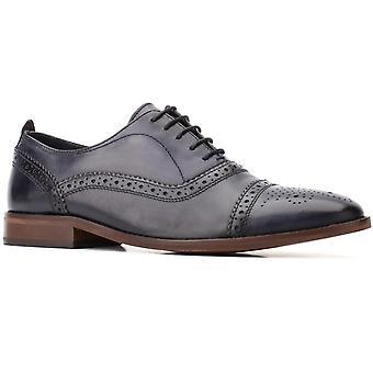 Base cast washed leather mens formal shoes navy UK Size