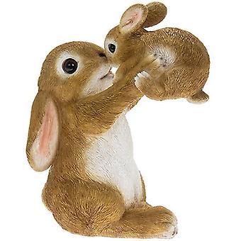 Garden Pals Ornament Rabbit Holding Up Baby Rabbit