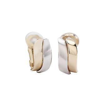 Traveller Clip Earrings matt shiny 2-tone - 155102
