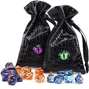 Dragon Eye Dice Bag - Drawstring Pu Lederen Dnd Dice Opbergtas