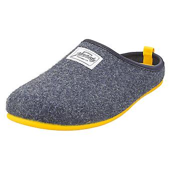 Mercredy Slipper Navy Yellow Mens Slippers Shoes in Navy Yellow