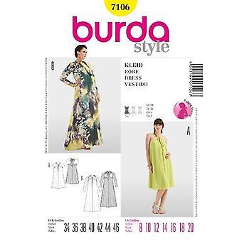 Burda sömnad mönster 7106 moderskap klänning storlek 8-20