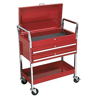 Sealey Cx1042D wózek 2-poziomowy o dużej wytrzymałości z góry zamykany i 2 szufladami