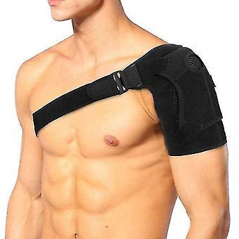 Breathable gym sports care single shoulder support back brace guard strap wrap belt band pads black adjustable bandage men/women