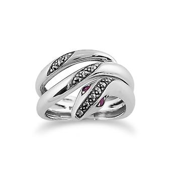 Gemondo 925 стерлингового серебра арт-нуво 0.06ct Рубин & марказит змея кольцо