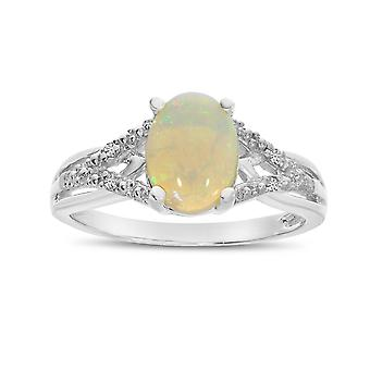 LXR 10k White Gold Oval Opal and Diamond Ring 0.56 ct