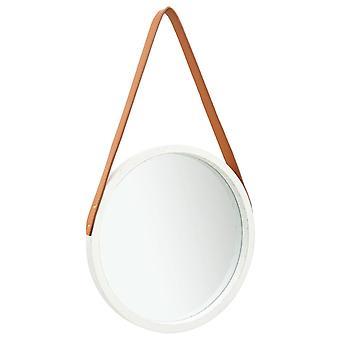 vidaXL مرآة الحائط مع حزام 40 سم أبيض
