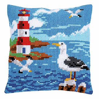 Vervaco Cross Stitch Kit: Coussin: Phare et mouettes