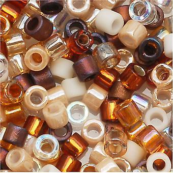 Miyuki Delica Semillas Perlas, Tamaño 10/0, 8 Gramos, Mezcla De Mantequilla De Miel Bronceado Marrón