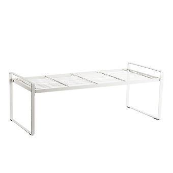 Wrought Iron Layered Shelf Rack Medium White
