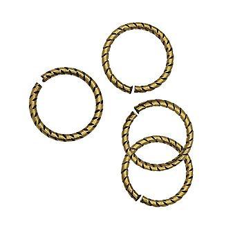 Nunn Design Jump Ring, Texturerad Öppen 16 Gauge, 12mm, 4 Stycken, Antikt Guld