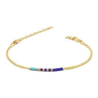Benava, women's friendship bracelet, minimalist, multiwire with Seed Bead Gold glass beads 15-19 cm, adjustable Ref. 4744999040437