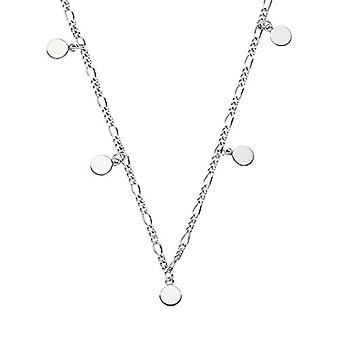 NOELANI Necklace with women's pendant, in silver 925, Figaro chain with disc adjustable in length