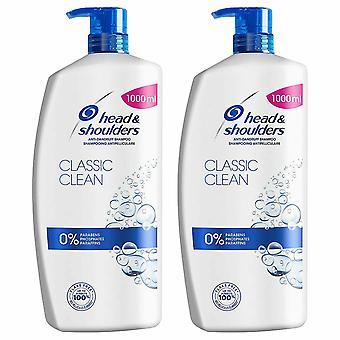 Head & Shoulders Classic Clean Anti Dandruff Shampoo 1000ml, Pack of 2