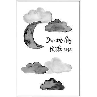 JUNIQE Print -  Dream Big Little One - Kinderzimmer & Kunst für Kinder Poster in Grau & Schwarz