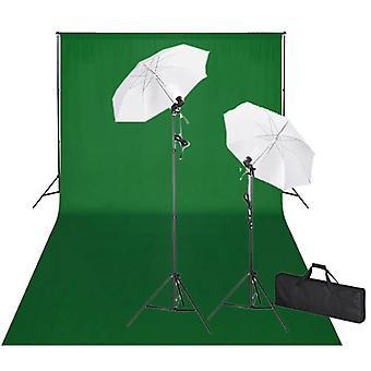 vidaXL Fotostudio-Set mit Grünem Hintergrund 600×300 & Leuchten