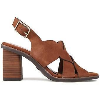 Sandale Tamaris en daim brun à talons moyens
