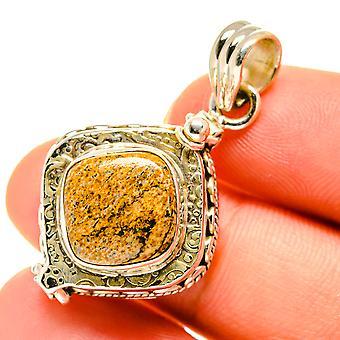 "Picture Jasper Poison Pendant 1 1/2"" (925 Sterling Silver)  - Handmade Boho Vintage Jewelry PD760601"