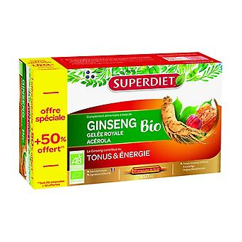 Ginseng Acerola Organic Royal Jelly + 50% free 30 ampoules of 15ml