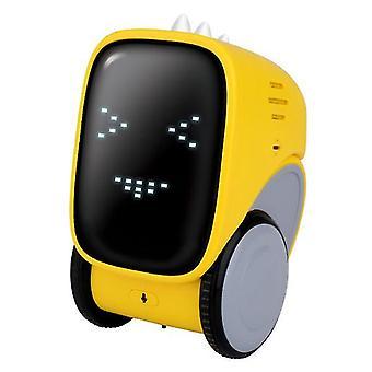 Älykäs latausautorobotin ääniohjausdialogin tallennusinduktiokosketus (keltainen)