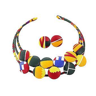 Jewerly Set afrikanske flower buckle håndlavede farvet klud choker øreringe til bryllup