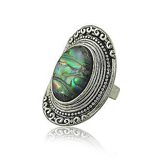Retro gyűrű eltúlzott zöld gyöngyszem faragott ujj gyűrű a szertartás